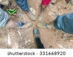 hiking shoes on hiker in water...   Shutterstock . vector #331668920