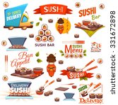 vector set with sushi banners ...