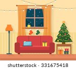 christmas room interior.... | Shutterstock .eps vector #331675418