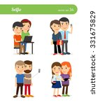 people taking selfie. friends... | Shutterstock .eps vector #331675829