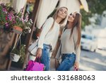 two beautiful girlfriends with... | Shutterstock . vector #331688063
