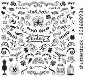 set of vintage sketch elements. ...   Shutterstock .eps vector #331688936