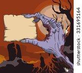 terror scene with zombie hand... | Shutterstock .eps vector #331695164