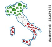 map of italy with houses inside | Shutterstock .eps vector #331696598