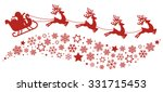 Stock vector santa sleigh reindeer flying snowflakes red silhouette 331715453