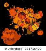 watercolor pumpkin with color... | Shutterstock .eps vector #331716470