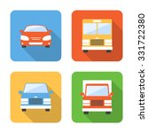 flat vehicle icons with long...