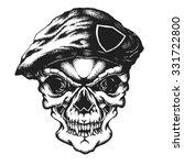 hand drawn commando skull in... | Shutterstock .eps vector #331722800