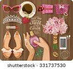 wedding bride set in vintage... | Shutterstock .eps vector #331737530