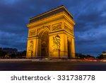 arc de triomphe at night in...   Shutterstock . vector #331738778