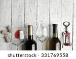 Bottles Wine Glass Corkscrew Wooden - Fine Art prints
