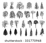 vector trees in silhouettes...