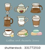 coffee and desserts icons set... | Shutterstock .eps vector #331772510