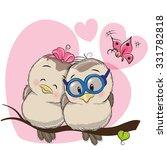 two cute cartoon birds is... | Shutterstock .eps vector #331782818