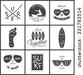 surfer vector set. vintage... | Shutterstock .eps vector #331783514