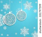 ball openwork paper on blue... | Shutterstock .eps vector #331797599