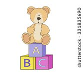 cute teddy with alphabet toy... | Shutterstock .eps vector #331835690