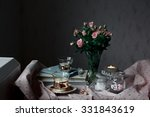 romantic tea time settings with ... | Shutterstock . vector #331843619