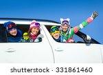 young friends   go to winter... | Shutterstock . vector #331861460