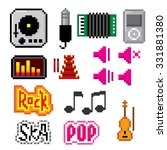 music icons set. pixel art. old ... | Shutterstock .eps vector #331881380