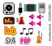 music icons set. pixel art. old ... | Shutterstock .eps vector #331881380