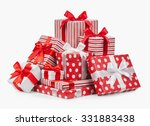 striped box with a bow isolated ... | Shutterstock . vector #331883438