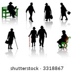 silhouette of old people. | Shutterstock .eps vector #3318867