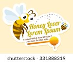 honey lover label with bees ... | Shutterstock .eps vector #331888319
