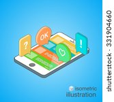 3d smartphone with colorful... | Shutterstock . vector #331904660