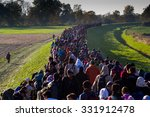 several thousand refugees are... | Shutterstock . vector #331912478