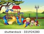 children reading in the park... | Shutterstock .eps vector #331924280