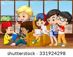children reading and working in ... | Shutterstock .eps vector #331924298