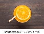 fresh orange juice in glass on... | Shutterstock . vector #331935746