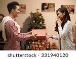 surprised woman receiving... | Shutterstock . vector #331940120