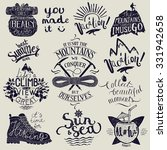 hiking lettering set. travel... | Shutterstock .eps vector #331942658