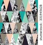 trendy tropical patchwork... | Shutterstock .eps vector #331945628