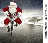 santa claus and white bike  | Shutterstock . vector #331946840