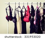 Stock photo shopping and fashion hanger with seductive sexy colorful lingerie underclothes shop interior 331953020