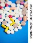 multicolored pills closeup