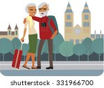 happy senior couple traveling... | Shutterstock .eps vector #331966700