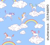 white unicorns and clouds in... | Shutterstock .eps vector #331968890