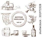 scottish highlands set. set of...   Shutterstock .eps vector #331972328