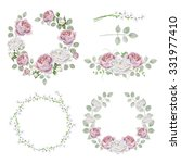 watercolor set of wreaths with... | Shutterstock . vector #331977410