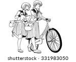 school uniforms girls with bike ... | Shutterstock . vector #331983050