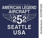 Aircraft army Seattle typography, t-shirt graphics, vectors