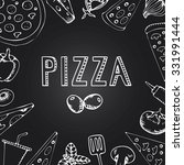 menu pizza on the chalkboard.... | Shutterstock .eps vector #331991444