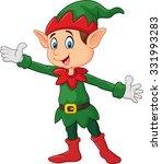 cute green elf waving hand.... | Shutterstock . vector #331993283