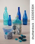 decoupage on glass. blue and... | Shutterstock . vector #332005304