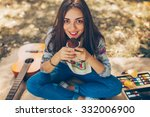 hipster teenager girl smiling... | Shutterstock . vector #332006900