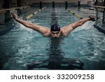 Man Swims Using Breaststroke...